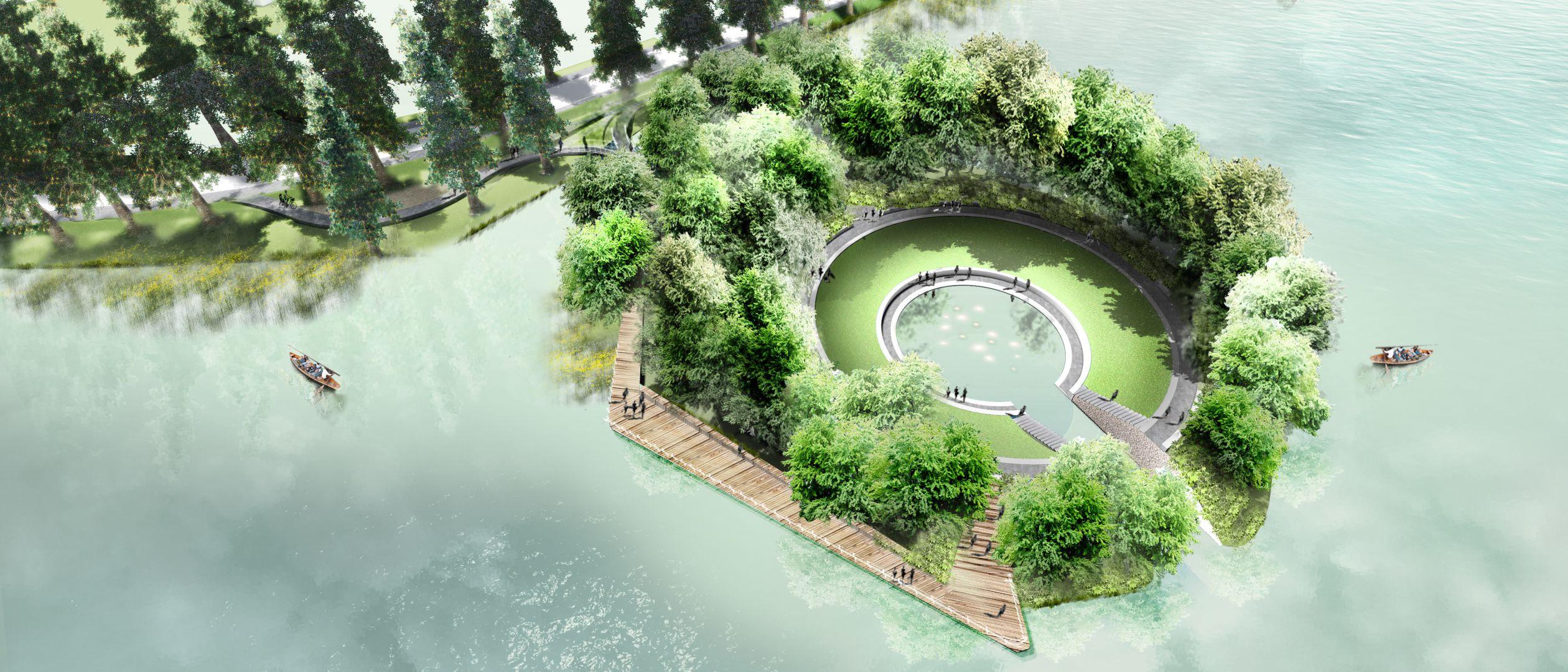 Landschapspark Donghu Lake, Visitors island, Wuhan, China